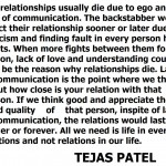 Tejas Patel about relationships
